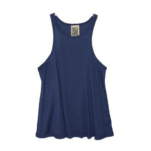 Free People Navy Ribbed Flowy Tank